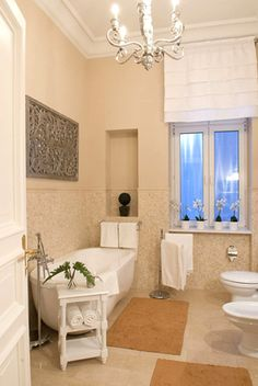 Everyone's Private Jet! www.flightpooling.com Chandelier - now that's a luxury bathroom! Be My Guest #Berlin #fashion #travel