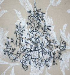 Free motion embroidered Chandelier by JackieBicknellArt on Etsy,