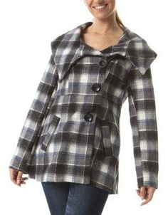 (CLICK IMAGE TWICE FOR DETAILS AND PRICING) Bourges Plaid Coat Mystic. A plaid jacket is the perfect fashion fit for fall, its light weight material, shawl collar, and oversized buttons make it a fashion must.. See More Coats and Jackets at http://www.ourgreatshop.com/Coats-and-Jackets-C76.aspx