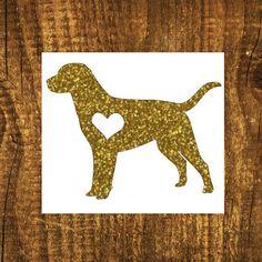 GLITTER Labrador Heart Decal  Labrador Mom by MMVinylCreations