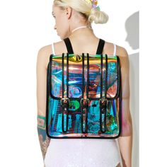 Current Mood Transparent Rainbow Backpack ($38) ❤ liked on Polyvore featuring bags, backpacks, galaxy print backpack, transparent backpack, sheer bags, rainbow backpack and rainbow bag