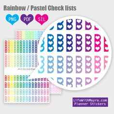 Free Printable Rainbow/Pastel Checklist Box Planner Stickers from lifewithmaya.com