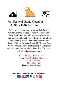 Bring your pet and join us for our Fall Festival Grand Opening located at our new office, Stow Falls Pet Clinic. Pet Clinic, Veterinarians, Grand Opening, Exotic Pets, Free Photos, Your Pet, Health Care, Calendar, Stress