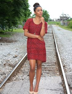 Beautiful cranberry red tunic dress. Layer it with tights or jeans for the winter. Fair trade, natural/ eco dyes and 100% cotton.