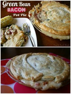 Cheesy Green Bean & Bacon Pot Pie (with vegetarian option) This is not your average pot pie!
