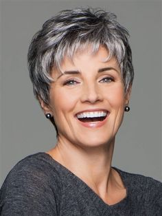 Incentive by Eva Gabor Wigs - Lace Front, Hand Tied, Monofilament Wig - Aktuelle Damen Frisuren Short Grey Hair, Short Hair With Layers, Short Hair Over 60, Gray Hair, Layered Hair, Hairstyles Over 50, Short Hairstyles For Women, Hairstyles 2016, Black Hairstyles