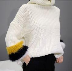 Fuzzy rib sweater — designer unknown