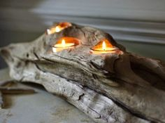 Driftwood tealight candle holder. Perfect for Fall: http://www.completely-coastal.com/2014/09/Coastal-autumn-decorations.html