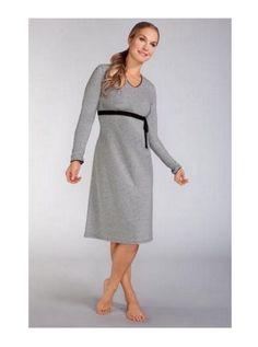 NEW-AMOENA-Ambience-Mastectomy-Night-Gown-Dress-Sz-S-Gray-Black-Lace-Trim-79