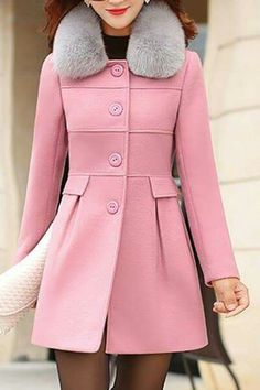 ROMWE Double-breasted Skirt Hem Design Pink Trench-coat/$73.14- I ...