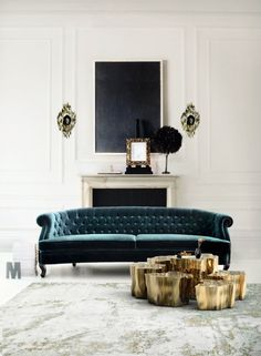 Room Decor Ideas: a living room design by Boca do Lobo. The room is full of light and tha gold wall lamps and side table and the green velvet sofa. My Living Room, Home And Living, Living Room Furniture, Home Furniture, Living Room Decor, Living Spaces, Furniture Design, Modern Living, Furniture Ideas