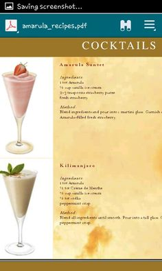 Amarula Cocktails, Drinks, Martini, Peppermint, Vodka, Vanilla, Strawberry, Fresh, Nice