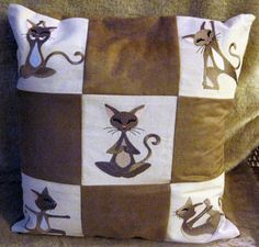 Yoga cats machine embroidery designs pillow.