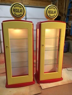 Gas Pump Curio Cabinet from the Kreg Owners' Community Wood Projects, Woodworking Projects, Car Furniture, Painted Furniture, Wooden Workshops, Hot Wheels, Man Cave Home Bar, Gas Pumps, Garage Design