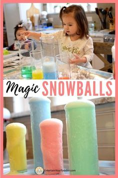 This exciting science activity for kids is an explosion of fun! First you get to make snowballs, then drop them into the secret formula to create a fun color eruption. Perfect indoor activity all year round! Check out how we made the snowballs and whats Christmas Activities For Toddlers, Rainy Day Activities For Kids, Toddler Learning Activities, Indoor Activities For Kids, Preschool Activities, Science Activities For Toddlers, Activity Days, Summer Activities, Indoor Play For Toddlers
