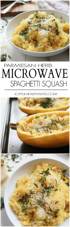 A 15 Minute way to make Spaghetti Squash that you will fall in love with, Parmesan Herb Microwave Spaghetti Squash. It's as easy as 1,2, ... and it needs to be on your table this holiday season! | joyfulhealthyeats.com