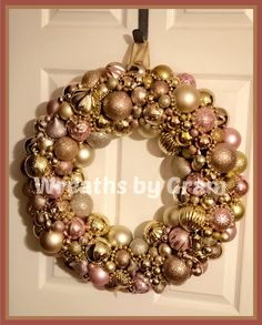 Ornament Wreath; christmas bulb wreath; Pink and Gold aethestic; rose gold aesthetic; Christmas Mantel Decorations; christmas wreath above mantel; wreath above bed wall decor; christmas wreaths for front door; holiday wreaths christmas; christmas porch decorations; shatterproof ornament wreath; christmas ball wreath; bauble wreath; christmas gift ideas; neighbor gifts christmas; christmas presents for mom; elegant christmas decor #christmaswreath #ornaments #rosegold #giftideas