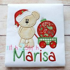 Christmas Bear Wagon Ornament Applique - 3 Sizes!   Christmas   Machine Embroidery Designs   SWAKembroidery.com The Itch 2 Stitch