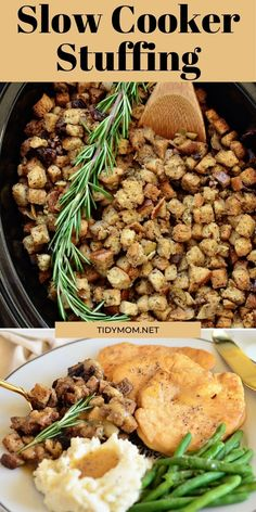 Free up the oven and stove this holiday season with this favorite Slow Cooker Stuffing. It's easy, flavorful, and perfect for any holiday meal. PRINTABLE RECIPE at TidyMom.net #stuffing #dressing #thanksgiving #thanksgivingrecipes #slowcooker #crockpot #sidedish