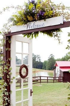 Rustic Country door for ceremony and/or reception grand entrance. This is great, and also practical - we men like to open the doors for our special ladies.
