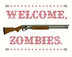 2 Cross Stitch Patterns -- Welcome Zombies pattern set. $6.00, via Etsy.