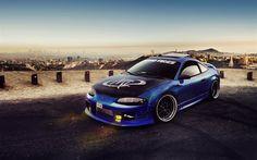 Mitsubishi Eclipse, sports coupe, Tuning Eclipse, Blue Mitsubishi