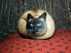 looks like my Siamese! Pebble Painting, Stone Painting, Rock Painting, Painted Pavers, Painted Rocks, Painted Rock Animals, Pet Rocks, Domestic Cat, Cat Face