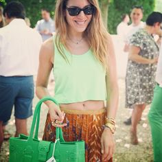 @thedanistahl--style director at @nylonmag--swings Model M. Emerald at the #GreatBagBrunch. #greatbag #Emerald #GreatBagCo #Green
