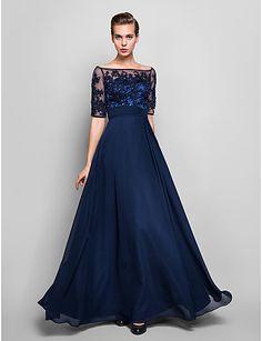 vestido de noite bainha / coluna off-the-ombro até o chão chiffon e tule (551.359) - BRL R$ 241,73