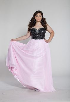 Plus Size Prom Dresses 2013 - Sydney's Closet Plus Size Prom SC7095 Pink Black