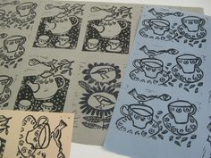 https://flic.kr/p/eiAL6S | cup o tea prints 2 may 13 | New lino prints for cards