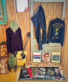 """#vintage#vintagestyle#vintageclothes#vintagefashion#a1#knit#sweater#military#army#Vietnam#frisco#jeens#suspender#ww2#magazine#myfreedamn#cd#buddyholly#elvis#40s#1940s#60s#1960s#myhouse#american#rug#cap#hat…"""