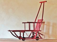 Vintage Wood And Iron Sled Rustic Winter Holiday Decor