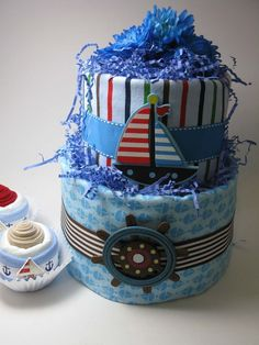 Nautical Theme Diaper Cake w/ Matching Cupcakes - Baby Shower Centerpiece.