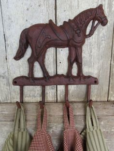 CAST IRON HORSE w 4 HOOKS Wall Mount Coat Tack Hat Towel Rack Country Equestrian