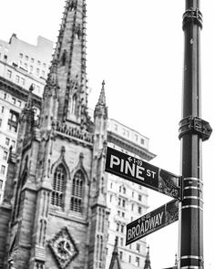 New York Photography - Pine Street and Broadway with famous Trinity Church -