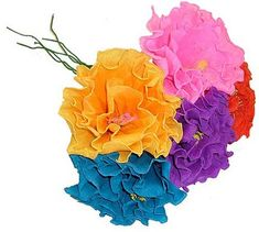 Find a selection of unique & stylish Mexican Fiesta party decorations for adult cocktail, dinner & birthday parties. Party Swizzle features tasteful theme party decor, much of which is not available in stores. Tissue Paper Flowers, Diy Flowers, Fabric Flowers, Bright Flowers, Flower Ideas, Faux Flowers, Flower Crafts, Mason Jar Diy, Mason Jar Crafts
