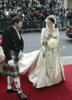 Miss Mary Donaldson with her father outside the church on her wedding day to the Crown Prince of Denmark