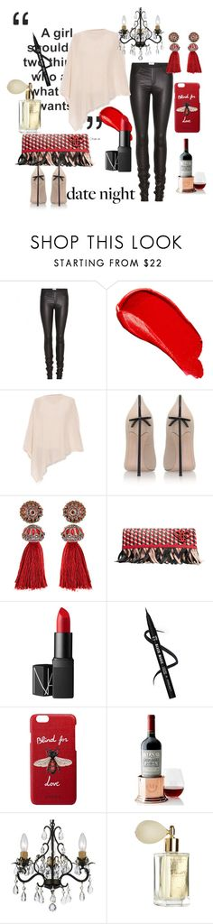 """""""Date Night"""" by paisleyisback ❤ liked on Polyvore featuring Helmut Lang, Burberry, Minnie Rose, Casadei, Lanvin, Emilio Pucci, NARS Cosmetics, Gucci, Mark & Graham and Home Decorators Collection"""