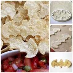 Ingredients: 12 corn tortillas c. olive oil 1 tsp cumin juice of half a lime kosher salt Preheat the oven to 350 degrees and prep a baking sheet by lining it with a silpat or parchment. Using a cookie cutter, cut out Bat-shapes and place onto t Lego Batman Birthday, Lego Batman Party, Superhero Birthday Party, 4th Birthday Parties, Boy Birthday, Batman Food, Birthday Ideas, Batman Party Foods, Villains Party