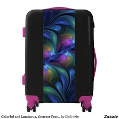 Colorful and Luminous, abstract Fractal Art Luggage
