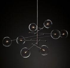 "Glass Globe Mobile 8-Arm Chandelier 79"""