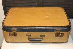 Vintage Marie Antoinette Large Suitcase Tan Navy Blue  Repurposed Display Luggage. $59.99, via Etsy.