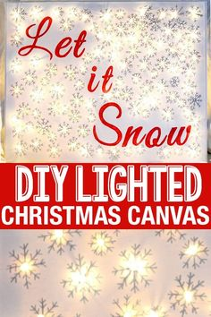 DIY Lighted Canvas ⋆ Christmas Wall Decor ⋆ Sprinkle Some Fun - - Make this amazing DIY Lighted Canvas Art with tools you probably have lying around! So easy that you'll want to make Christmas Wall Art for everyone! Canvas Art Projects, Diy Canvas Art, Wall Canvas, Diy Projects, Canvas Ideas, Canvas Paintings, Lighted Canvas Pictures, Christmas Canvas Art, Holiday Canvas