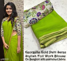 Fabric: Saree -Georgette, Blouse - Banglori Silk Size: Saree Length - Mtr, Blouse Length - Mtr Work: Foil Printed Dispatch: 2 – 3 Days Different colors available including shipping charges For more information can ping me Cotton Saree Blouse, Soft Silk Sarees, Saree Dress, Georgette Sarees, Lehriya Saree, Georgette Dresses, Simple Sarees, Trendy Sarees, Stylish Sarees