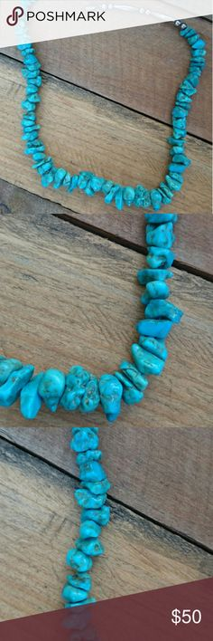 "Vintage Genuine Turquoise Chunk Necklace These genuine turquoise chunks are a gorgeous vibrant color. And the chunks are big! Beautiful vintage necklace is not stamped however I do believe the beads attached are either sterling or stainless steel. Has Barrel screw in clasp that I changed from the original clasp. Necklace measures about 20"". Jewelry Necklaces"