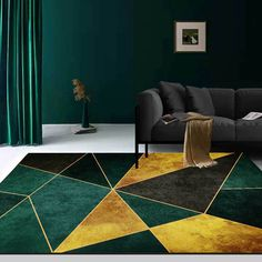 Geometric style rug adds unique and gorgeous elements to your space and fits your living room, bedroom, dining room, dressing room, or any space in your house. Come up with black, green and gold, this rectangle rug can be a good choice to liven up your room. Despite the remarkable appearance itself, another benefit is the dirty resistance due to its dark surface.- Materials: Polyester- Size Option: Small/Large- Color: Green, Black, Gold - Small Dimensions: 4.8'Lx3.6'W (1600mmLx1200mmW)- La Black And Gold Living Room, Living Room Green, Bedroom Green, Living Room Carpet, Rugs In Living Room, Living Room Decor, Green Dining Room, Quirky Living Room Ideas, Black Gold Bedroom