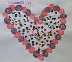1maman2filles activité peinture aux pompons coeur