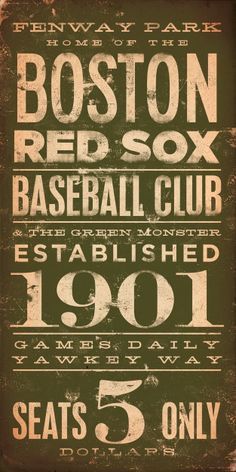 BOSTON red sox baseball club original graphic art giclee archival signed print 10 x 20 by stephen fowler. $25.00, via Etsy.