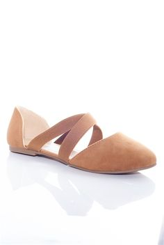 In Step Cross Strap Ballet Flats - Tan from Forever at Lucky 21